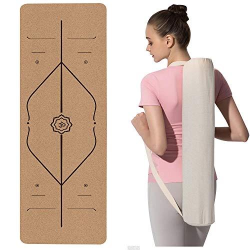 Tappetino Yoga Sughero - Professionale per Yoga, Tappetino da Palestra per Fitness Pilates e Ginnastica con Cinturino,183 x 65 cm x 0.6 cm (fucsia)