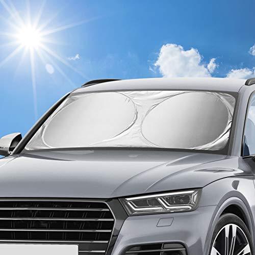 AODOOR Auto Sonnenschutz, Sonnenschutz Auto für Frontscheiben, Sommer Sonnenschutz Frontscheibenabdeckun Sonnenblende Auto Windschutzscheibe Abdeckung UV-Schutz für Kinder, Hunde und Babys - 160x86cm