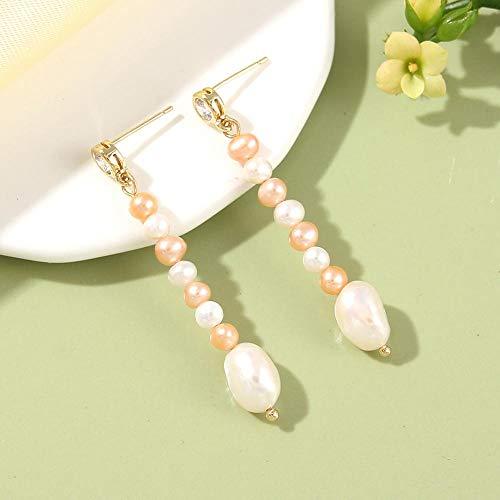 DJMJHG Pendientes de Perlas de Agua Dulce para Mujer, Pendientes Largos con Cuentas, Regalo de Fiesta de Perlas, joyería Fina