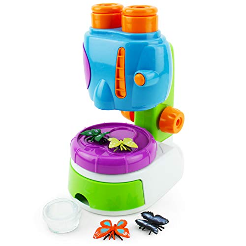 Boley My First Microscope Kit - STEM Science Learning Microscope for Kids with Binocular Viewer and Realistic Butterfly Toys - Educational Beginners Set for Toddler and Preschool Aged Children