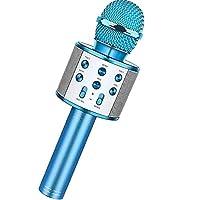 マイクロフォン ミーティングボイスチャットカラオケのための携帯用無線カラオケマイク ハンドヘルドマイク (色 : 青, Size : One size)