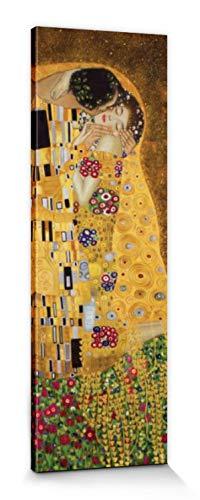 1art1 Gustav Klimt - El Beso II Cuadro, Lienzo Montado sobre Bastidor (150 x 50cm)