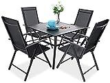 PHIVILLA 4+1 Gartenstühle und Tisch Klapp Gartenstühle mit Aluminiumrahmen, 6X verstellbar mit 7 sitzpositionen,Gartentisch aus Stahl Stahl Gartentisch mit Sonnenschirmloch Gartenmöbel-Sets (Schwarz)