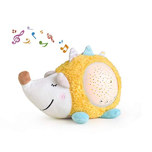 Baby Sleep Soother Toddler Sleep Aid Night Light with Soothing Sound Machine and Star Projector, Hedgehog Lullaby Sleep Toy Gift for Newborn and Up Boy and Girls