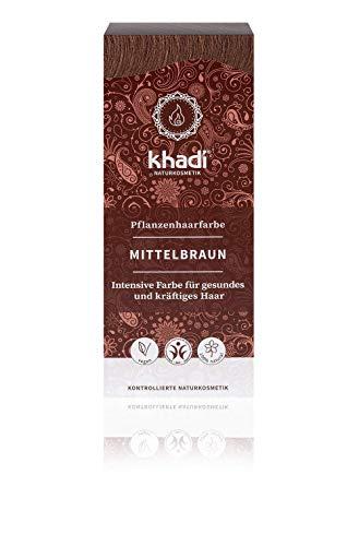 KHADI - Poudre Colorante pour Cheveux Brun Moyen - 100% naturel - Pour tous les types de cheveux - Fortifiant et nourrissant - Certifié BDIH - Végétalien - 100 gr