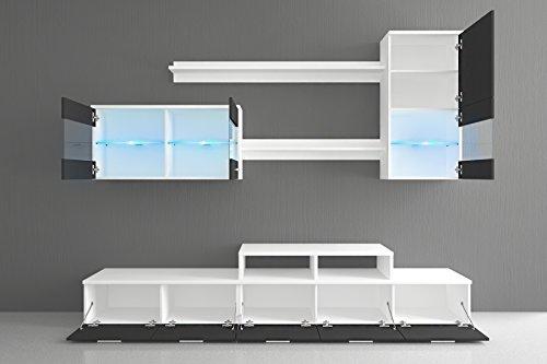 Wohnwand – Modern in Schwarz mit Beleuchtung kaufen  Bild 1*