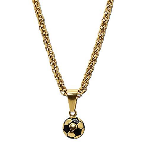 tumundo Edelstahl Gliederkette Panzerkette Halskette Fußball Ball Football WM Ketten-Anhänger Golden Silbern Fan Artikel, Modell:golden
