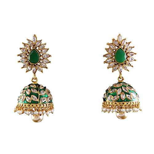 JewelryGift Royal Design Jhumka Gold Plated Emerald, White Crystal Stylish Fancy Indian Handmade Kundal Jewellery for Women Girls MY 71-GREEN