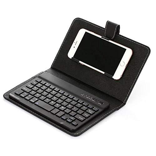 Yqs Teclado Portátil de Cuero de la PU Caja del Teclado inalámbrico Smartphone Protectora del Teclado del Soporte de la Cubierta con Bluetooth (Color : Black)
