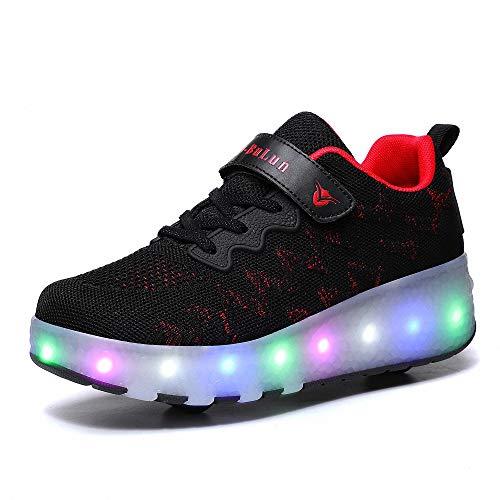 Kinder Led Roller Schuhe LED Leuchtend Schuhe mit Rollen 7 Farbe Farbwechsel Rädern Sneaker Unisex-Kinder Skateboard Schuhe mit USB Aufladbare für Kinder Jungen Mädchen,Schwarz,27