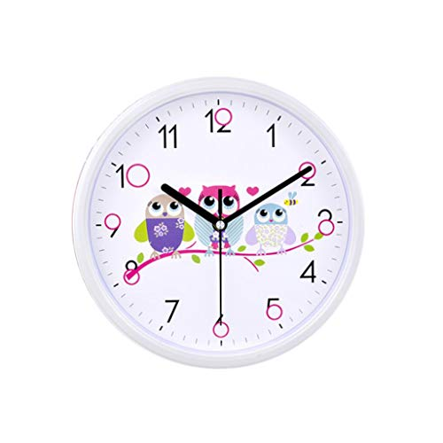 JIAJBG Clock 10 Inches Wall Sleek Minimalist Creative Cartoon Owl Pattern Round Wall-Mounted Living Room Bedroom Modern Home Quartz Mute Kitchen Clock/White