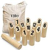 Toyfel Juego de Bolos de Madera Tölky - Bolos finlandeses - Kubb con números - Juego al Aire Libre Juego Madera Juegos Jardin