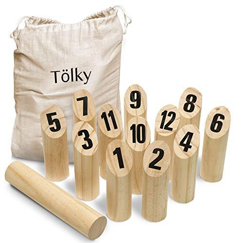 Toyfel Tölky Jeu de quilles finlandais en Bois - Bois écologique FSC® et Sac en Tissu - Jeu de...