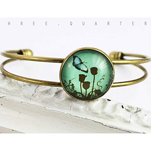 Armreif, Schmetterling, antik bronze, Glas, nostalgisch, Hippie, vintage, türkis, blau, Metall, Geschenk, Blumen, Natur, boheme, elegant