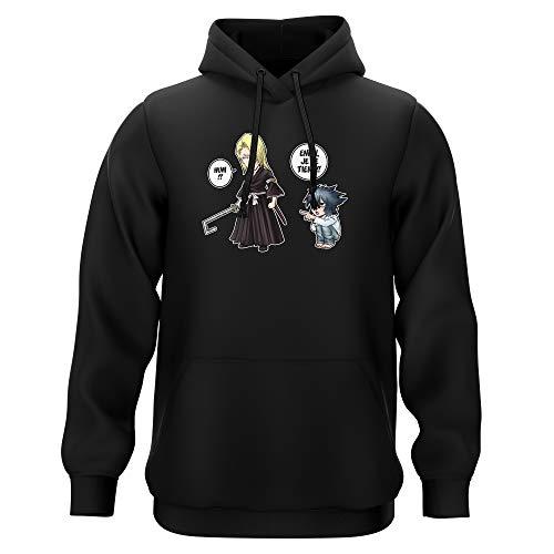 Okiwoki Sweat-Shirt à Capuche Noir Parodie Bleach - Death Note - Kira, L et Light Yagami - Erreur sur la Personne. (Sweatshirt de qualité Premium de Taille M - imprimé en France)
