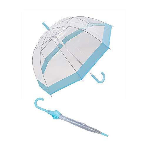 Susino paraplu bel transparant, paraplu transparant met rand in pastelblauw, paraplu dome, grote bescherming met een diameter van 90 cm, transparant en pastblauw