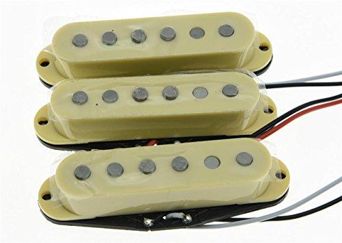 kaish creme 3Stück Alnico 5N/M/B Single-Coil Tonabnehmer ST Strat SSS Gitarre Tonabnehmer Set