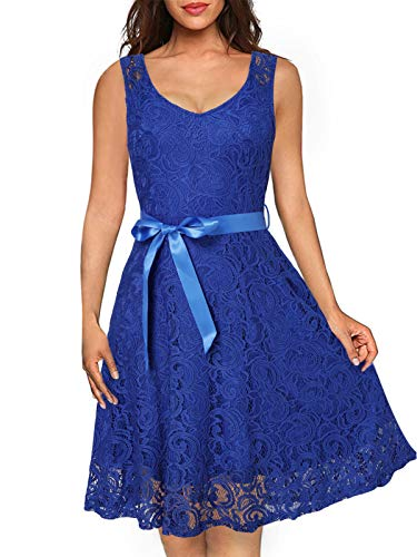 Kidsform Damen Spitzen Abendkleider 50er Jahre Kleider Partykleid Ärmellos Kleider Schwingen Cocktailkleid Elegant für Hochzeit Ballkleid Blau EU 46/Etikettgröße XL