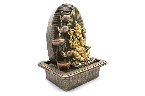 Shree Venilal Fuente de Agua Ganesh Ganesha Ganapati de Mesa de 4 peldaños – Decoración de Fuente de Agua para Interiores y Exteriores