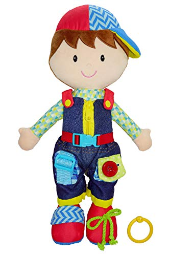 June Garden 15.5' Dressy Friends Lucas - Educational Stuffed Plush Doll for Kids and Toddlers 1 Year and Up - Montessori Buckle Soft Toy