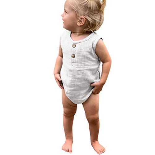 Julhold Sommer Säugling Baby Jungen & Mädchen Beiläufige Ärmellose Rüschen Feste Spielanzug Bodysuit Kleidung 3-24 Monate