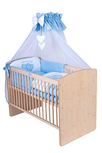 KMbaby Babybett K2 Naturholz Farbe 120x60 mit 10tlg Bettwäsche Set Matratze Gitterbett Herzen blau