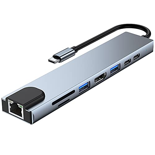 IPOTCH Espacio portátil 8 en 1 USB C Hub Tipo C con Salida HDMI 2K 2 Puertos USB 3.0 para Dispositivos Pro Air HP Tipo C