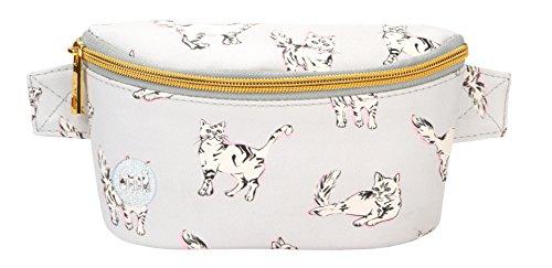 Mi-Pac Mi-Pac Bum Bag Cats - Light Grey Sac Banane Sport, 22 cm, Gris (Light Grey)