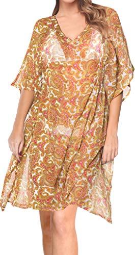 LA LEELA Encubrir Las Ondas Playa Gasa Ligera Mujeres con Cuello V Boho caftán Tapa la túnica señoras Poncho Kimono Vestimenta Casual Ropa Playa Piscina Noche Vestido Verano Bikini Rosa más Complejo