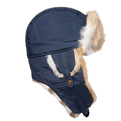 Generic Capelli New York Wintermütze für Damen, Kunstfell, warm, mit Ohrenklappen, Blau