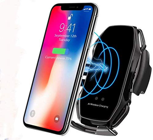 KMI CHOU A5 Phone Holder for Car,Automatic Clamping IR Intelligent Wireless Car Charger Mount - Car Charger Holder 10W Fast Charging for iPhone Xs Max/XR/X/8/8Plus Samsung S10/S9/S8/Note 8-Metal Black