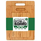 Freshware 3-Piece Premium Bamboo Wood Cutting Board Set for Meat & Veggie Prep, Serving Bread, Crackers, Cheese, and Cocktail Bar Board, BC-200PK