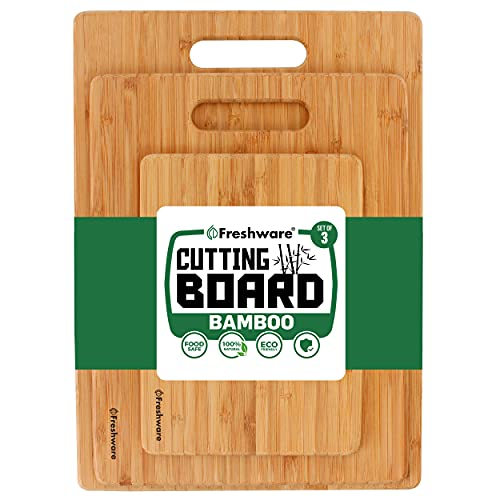 Bamboo Cutting Boards for Kitchen [Set of 3] Wood Cutting Board for Chopping Meat, Vegetables,...