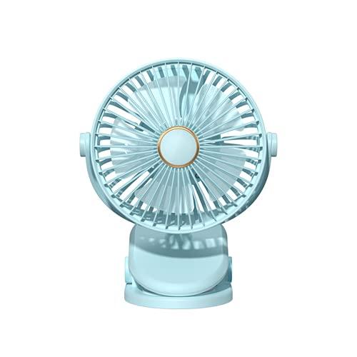 CHENXTT Pequeño Ventilador Pequeño Ventilador Silencioso Con Clip Portátil De Doble Propósito Rotación De 360 ° Carga Usb azul 7.4*5.8in