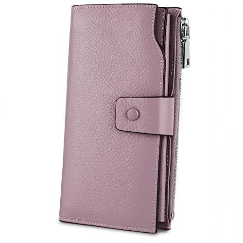 Cartera Mujer Cuero Genuino, YALUXE Monedero Largo Suave RFID Billetera Bloqueo con Cuerda Violeta Claro