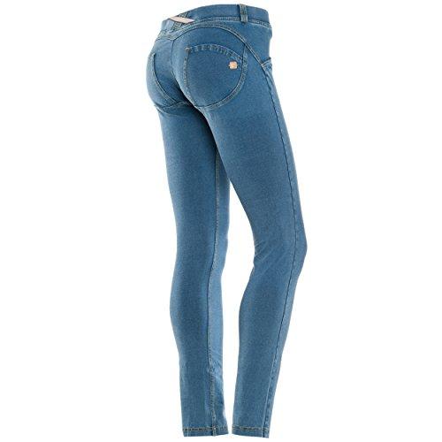 Freddy WR.UP Damen Pushup Denim - Low Waist Skinny mit Denim Effekt - J3Y - Washed Blau (Light Blue / Yellow Stitching) xl
