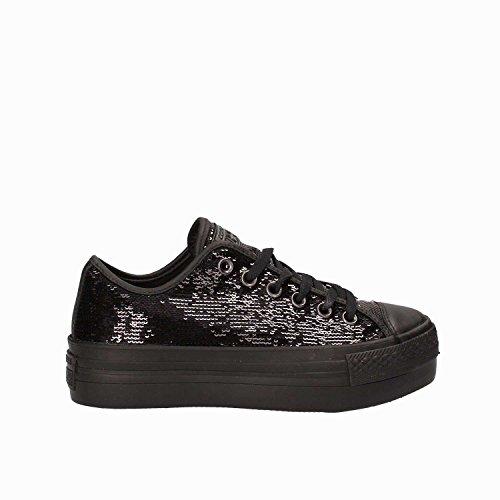 Converse CTAS Platform OX damesschoenen in zwarte stof met pailletten 558984C