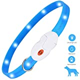 kolpop Light Up Dog Collar, USB Rechargeable LED Pet Dog Safety Collar with 3 Modes, Fashion Waterproof Flashing Dog Collar Lights for Small Medium Large Dogs and Cats (Blue)