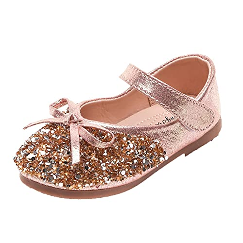 Zapatos de Cuero para niños Transpirables Ligeros con Purpurina Lentejuelas Zapatos Planos de Princesa para niñas Baile Suela Suave Zapatos Mary Jane