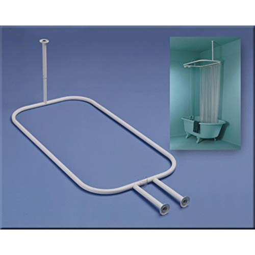 ZPC Zenith Products Corporation Zenna Home 34941, Hoop Shower Curtain Rod for Claw Foot Tubs, White