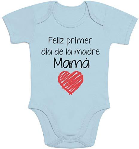 Regalo - Feliz Primer día de la Madre Mamá Body bebé Manga Corta 3-6 Meses Aguamarina