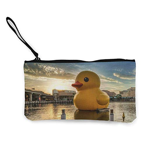 Small Yellow Duck in The Center of The Lake Men's and Women's Cute Fashion Personality Canvas Coin Purse with Zipper Makeup Bag with Wrist Strap Cash Callphone Bag 8.5 X 4.5 Inch