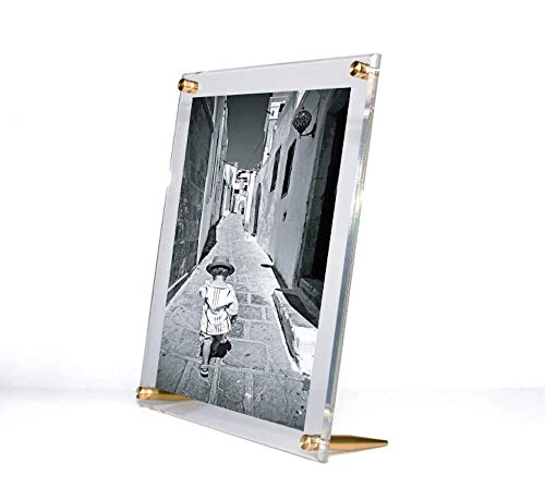 Wexel Art 10x12-Inch Diamond Polished Beveled Edge Framing Grade Acrylic Tabletop Floating Frame with Gold Hardware for 8x10-Inch Art & Photos
