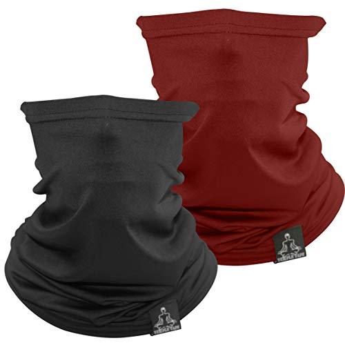Temple Tape Lightweight Breathable Cooling Neck Gaiter- Men & Women, Multi-Use Face Mask; Running & UV Protection - 2 Pack Black & Burgundy