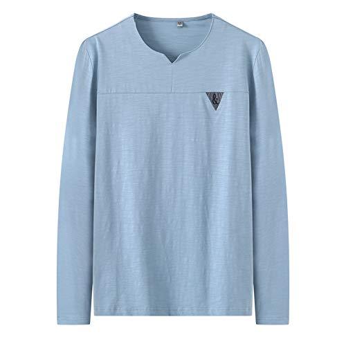 Camiseta de Manga Larga con Estampado Transpirable Fino y pequeño con Cuello en V para Hombre
