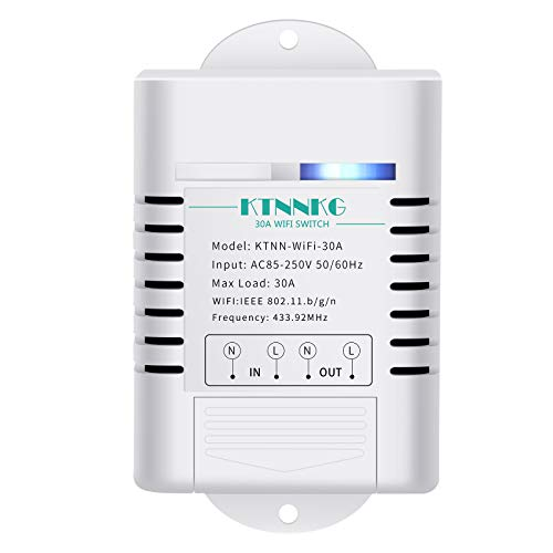 KTNNKG 30amps WiFi Switch for Garden Light, Pool Pump and Dust Collector,Support Remote Control,Compatible with Ewelink APP,Neutral Wire Required,110V 220V ac