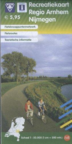 Recreatiekaart regio Arnhem Nijmegen: fietsknooppuntennetwerk; fietsroutes; toeristische informatie