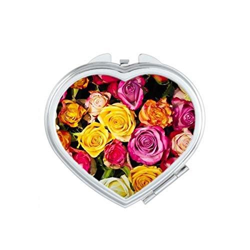 DIYthinker Blanc Big-Sized foncé Roses Coeur Maquillage Compact Miroir de Poche Miroirs Portable Mignon Petit Cadeau à la Main Multicolor