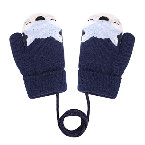 Guanti invernali per bambini con volpe, guanti spessi e doppi guanti in maglia con fodera in peluche, scaldamani a dita intere, 0-3 anni, giocare, correre, sci Blu scuro Taglia unica