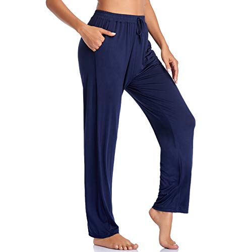 ASIMOON Women's Yoga Pants Soft Comfy Stretch Loose Straight Casual Athletic Pants Running Workout Lounge Pants with Pockets Navy-Blue
